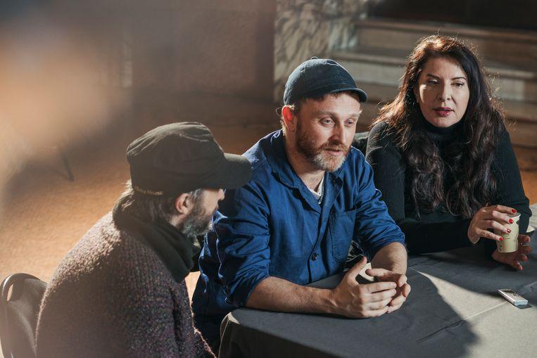 Het dreamteam van Opera Vlaanderen: Sidi Larbi Cherkaoui, Damien Jalet en Marina Abramovic.  Beeld Tim Coppens