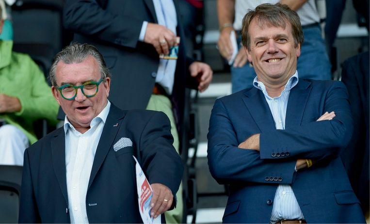 Moeskroen-voorzitter Patrick Declerck (links) en algemeen directeur Paul Allaerts. Beeld