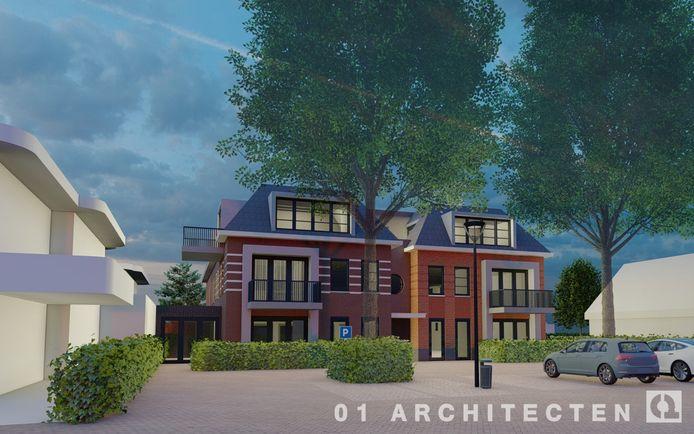 Een impressie van de voorgevel van het geplande appartementencomplex aan de Dorpsstraat .