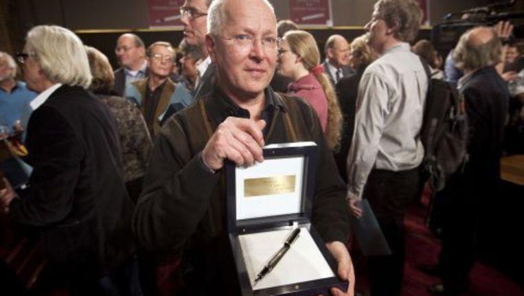 Hans Blink uit Eindhoven is de winnaar van het Groot Dictee der Nederlandse Taal. De 55-jarige administratief medewerker maakte zeven fouten, waarvan hij er twee wilde aanvechten. Foto ANP Beeld