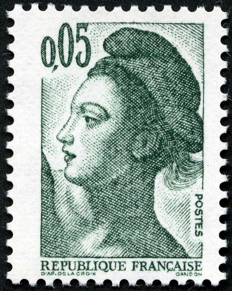 Marianne, symbool voor de Vrijheid, op een Franse postzegel. Beeld