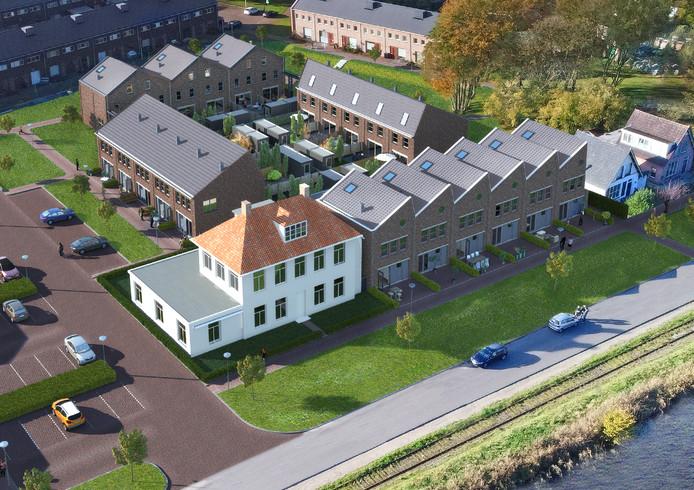 Dit deel met vier bouwblokken komt langs het kanaal. De witte villa op de voorgrond staat er al.