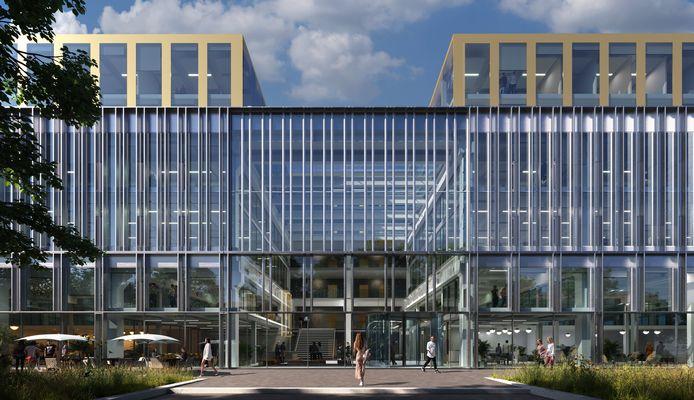Zo gaat The City Post, het voormalige postsorteercentrum bij het station in Zwolle, er straks uit zien. In het midden zaagt eigenaar DC Vastgoed een stuk uit het complex. In plaats daarvan komt er een reusachtig atrium met ruimte voor horeca. Voor het kantoor komt een grote glazen constructie. De horeca die er bij komt is 'voor de hele stad'.