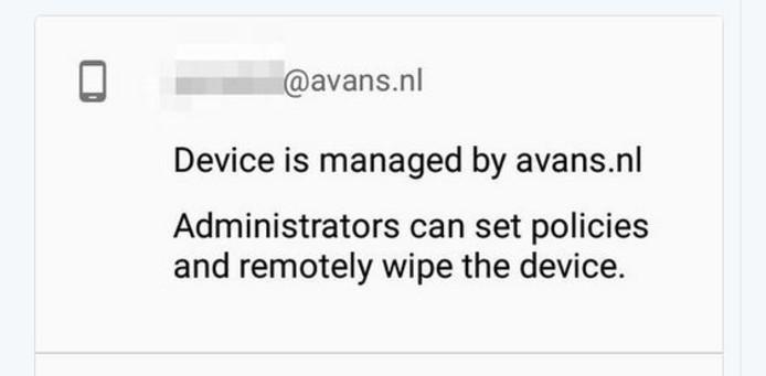 De melding op de telefoon van één van de Avans-studenten.