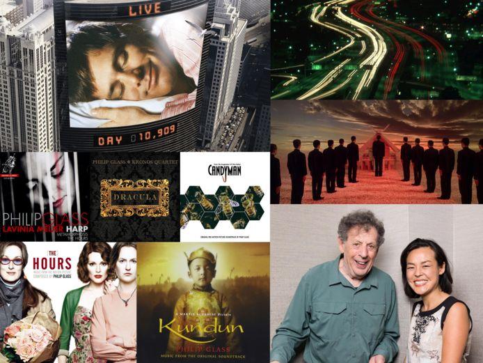 Philip Glass en Lavinia Meijer (rechtsonder). Glass componeerde talloze soundtracks, waaronder The Truman Show, Koyanisqatsi, Kundun en The Hours.