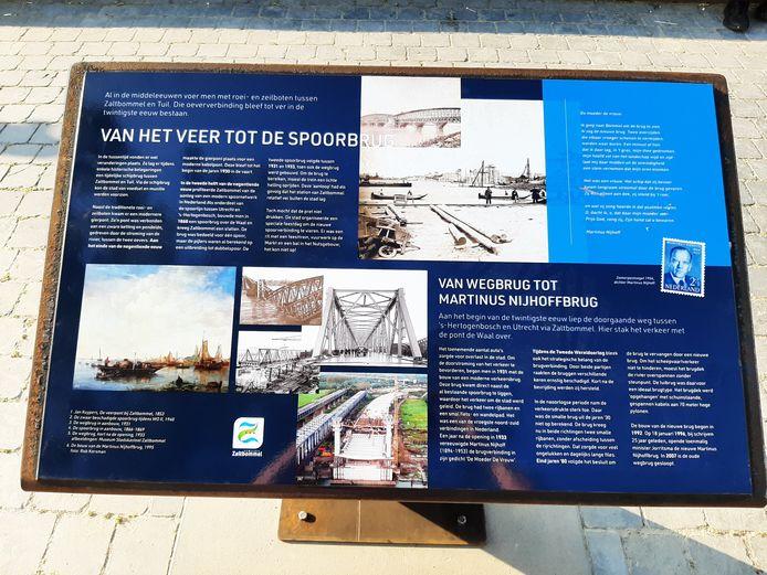 Tekst en uitleg over oeververbindingen op een voet van cortènstaal op de Waalkade van Zaltbommel.