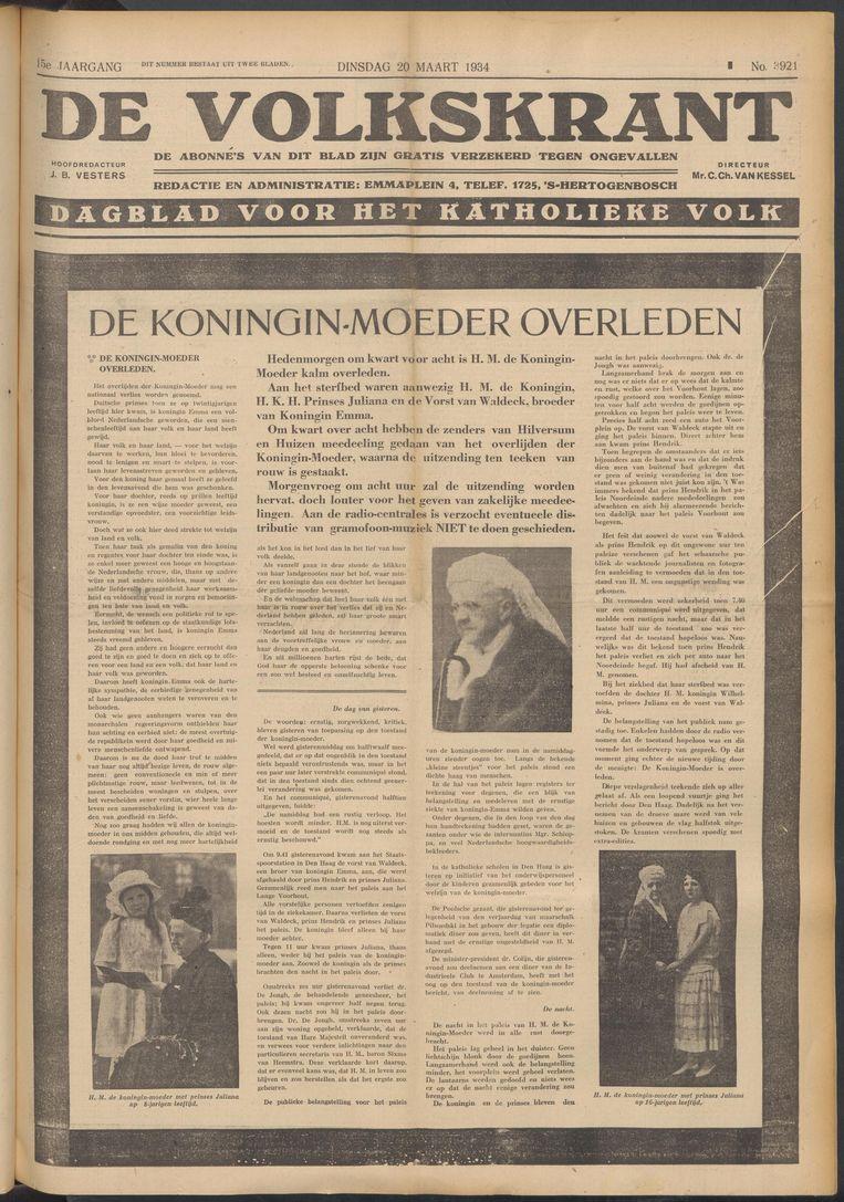 De Volkskrant van 20 maart 1934 Beeld de Volkskrant