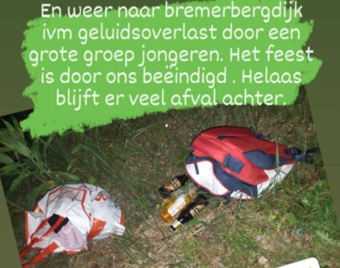 Jeugdagent Brigitte van Zonderen meldt op Instagram dat er zaterdagavond aan de Bremerbergdijk weer overlast werd veroorzaakt door jongeren.