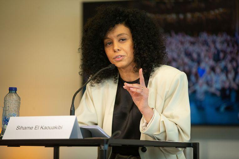 Sihame El Kaouakibi op haar persconferentie van 22 februari. Beeld BELGA