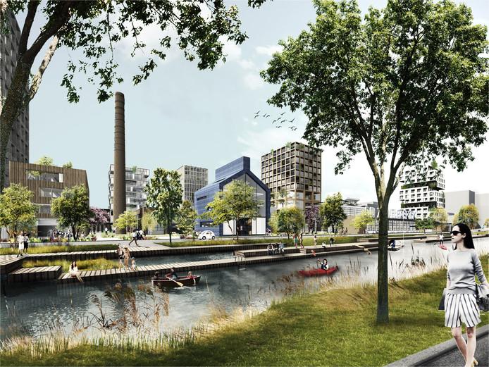 Een impressie van het plan van BPD voor het voormalige Campinaterrein aan het Eindhovensch Kanaal. (Illustratie Studioninedots | Delva landscape architects