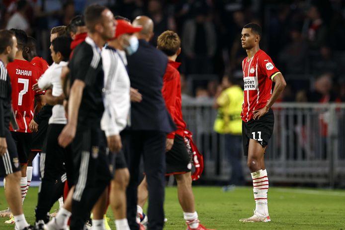 Cody Gakpo baalt na de uitschakeling van PSV.