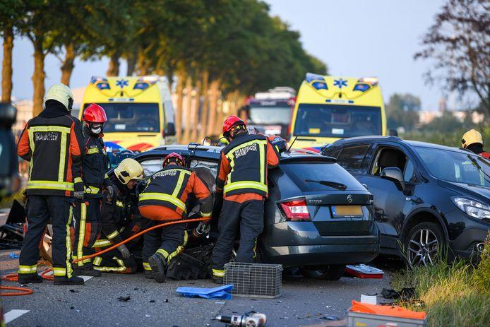 Drie auto's klapten woensdagavond op elkaar op de Hoogeveenseweg in Hazerswoude-Dorp nadat kort daarvoor een hond de weg op rende.