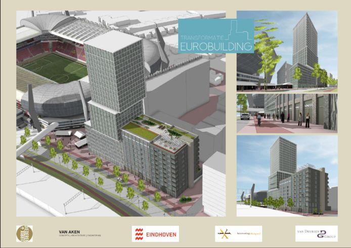 Het plan voor het Eurobuilding naast het PSV-stadion (dat getransformeerd wordt) en een nieuwe woontoren van Eurobuilding BV, Diederendirrix Architecten  en Van Aken Architecten.
