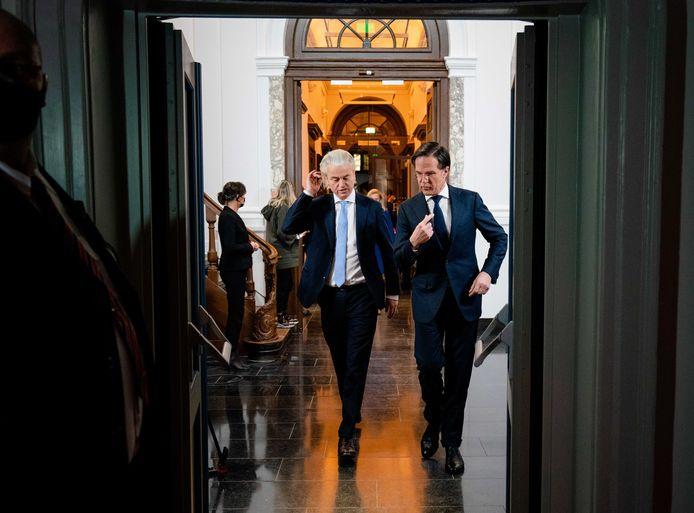 Geert Wilders en Mark Rutte voorafgaand aan het RTL Verkiezingsdebat.