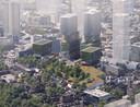 Een stadsbos is een belangrijk onderdeel van het VDMA-plan van Being Development en OMA Architecten voor het gebied aan de Vestdijk. Een van de twee kleinere woontorens is gereserveerd voor het Woongenootschap.