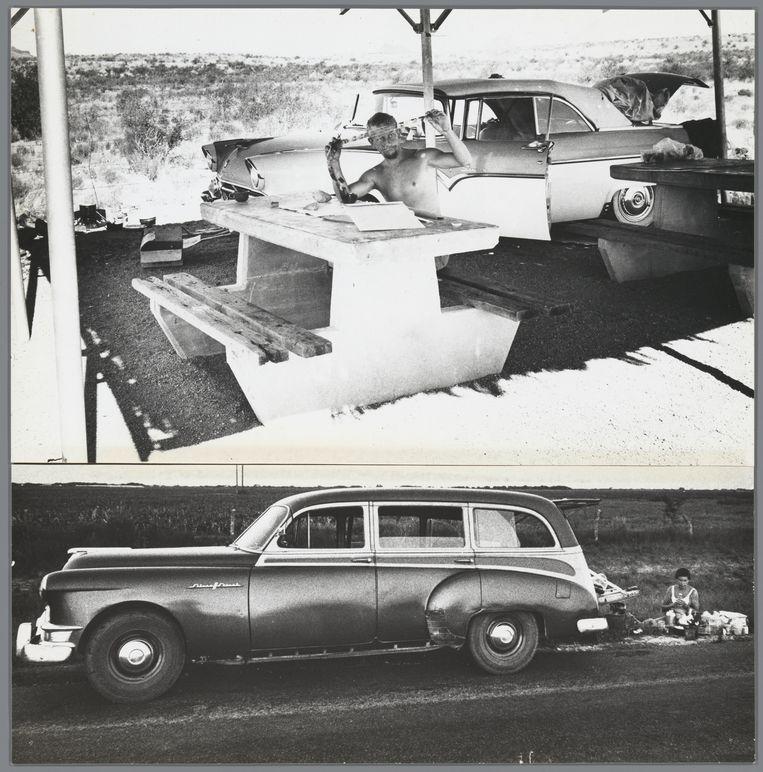 Van der Elsken bekijkt een filmrolletje tijdens zijn wereldreis. Daaronder: een vrouw eet bij  de auto, VS, 1959-1960. Beeld Ed van der Elsken