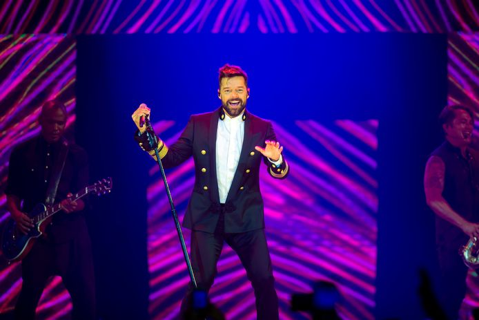 Ricky Martin tijdens het Human Rights Campaign-gala zaterdagavond.