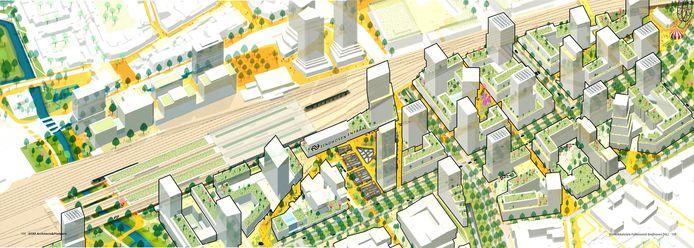 Overzicht van het plan Internationale Knoop XL in Eindhoven, rond Fellenoord en station. Dit zijn nog geen concrete plannen maar slechts mogelijke ontwikkelingen.