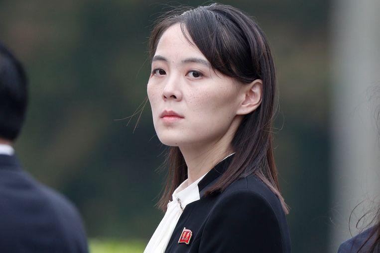 Kim Yo-jong, de zus van de Noord-Koreaanse dictator Kim Jong-un, haalde dinsdag hard uit naar de VS.  Beeld EPA