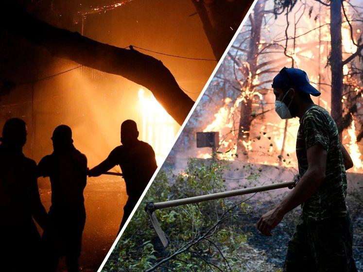 Duizenden mensen op de vlucht voor bosbranden Athene