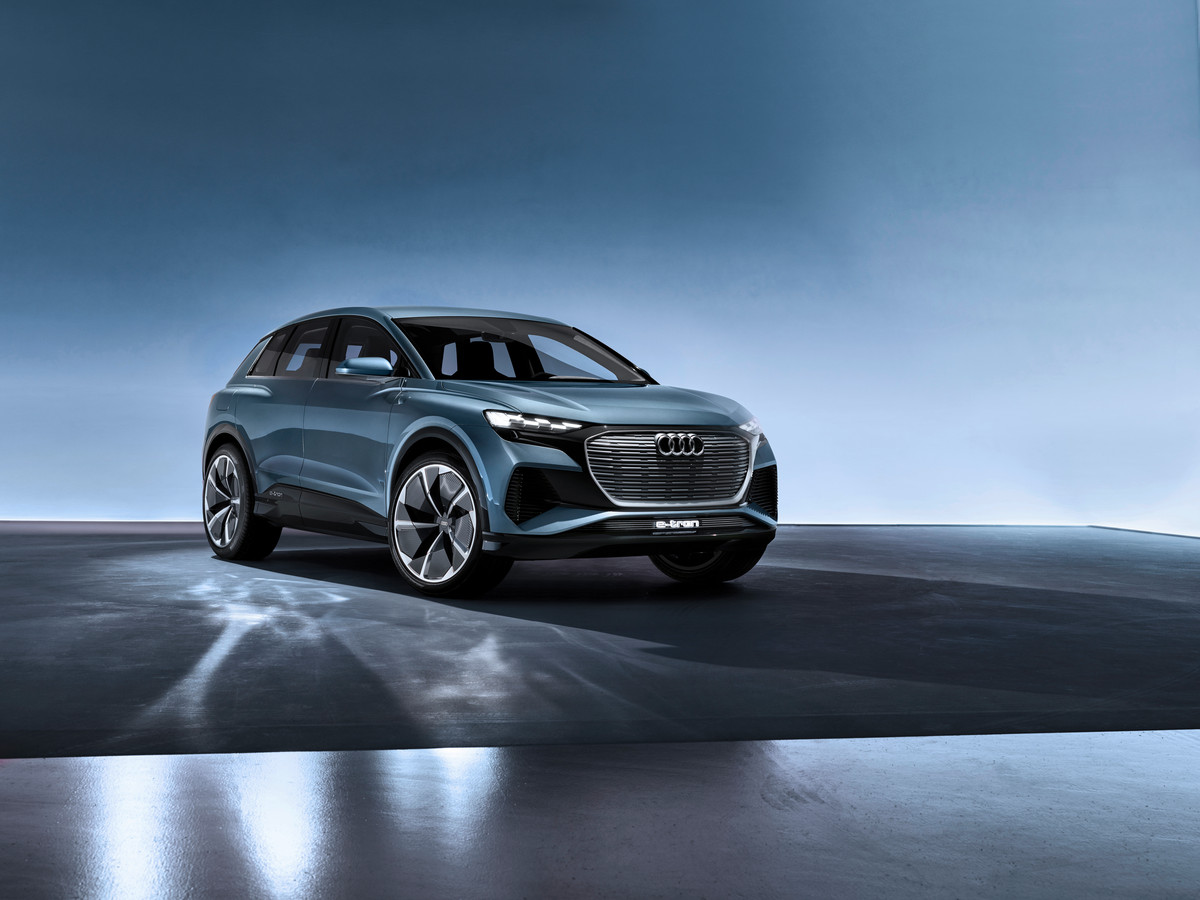 Het studiemodel voor de Audi Q4 e-tron op het MEB-platform