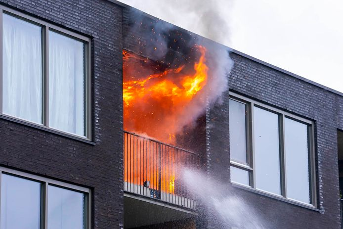 Uitslaande brand op bovenste etage appartementencomplex in Oss, twee honden uit woning gered