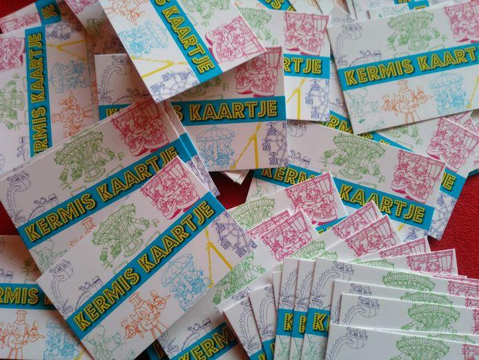 De kaartjes die zijn uitgedeeld voor de kermis in Boxmeer