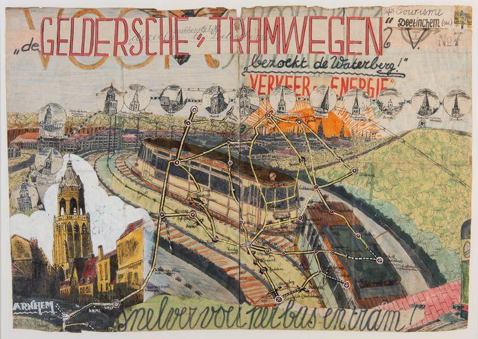 Werk 'Geldersche Tramwegen' van Willem van Genk, uit de collectie van Stichting het Dolhuys, met links onder de Arnhemse Eusebiuskerk.