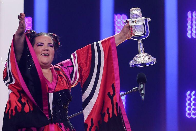 De Israëlische zangeres Netta Barzilai na haar winst bij het Eurovisie Songfestival 2018. Beeld EPA