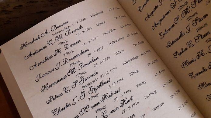 Pagina (10 mei) uit het herdenkingsboek, in twee banden, met namen van Tilburgse oorlogsslachtoffers, zoals dat komt te liggen in de kapel OLT ter Nood.
