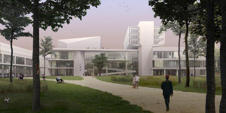 Het nieuwe ICC wordt een veelzijdig gebouw dat zich opent naar het park, naar de hal en naar de stad. Beeld RV