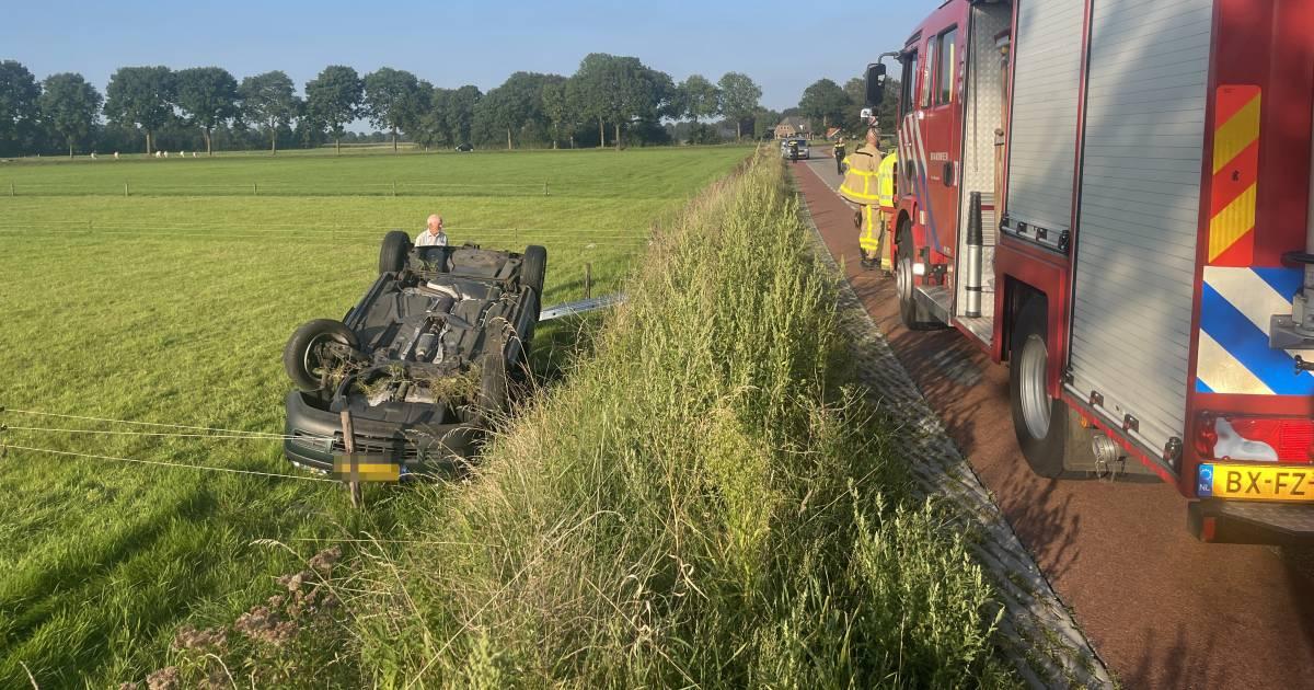 Automobiliste slaat over de kop en raakt gewond door botsing in De Heurne.