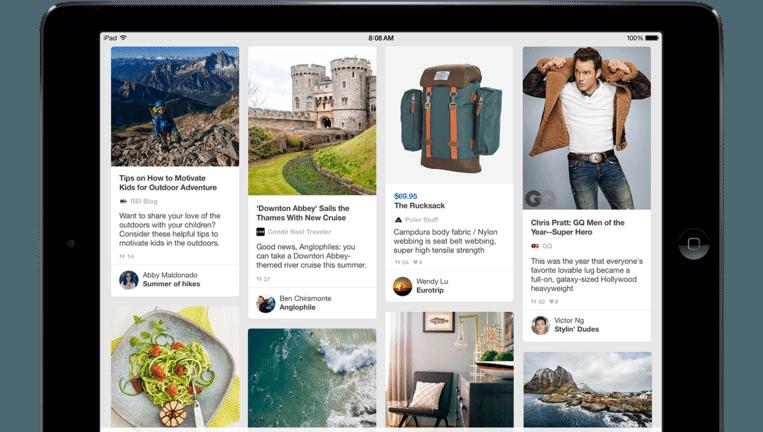 Pinterest op de iPad. Beeld Pinterest