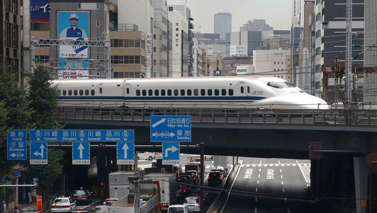 Een Japanse hogesnelheidstrein in Tokio. Beeld AP