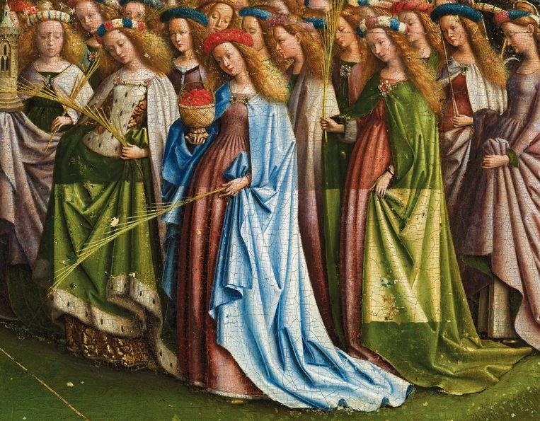 Door de restauratie zie je ook de gewaden terug zoals de gebroeders Van Eyck ze schilderden. Beeld Sint-Baafskathedraal Gent © Lukasweb.be-Art in Flanders vzw, foto KIK-IRPA