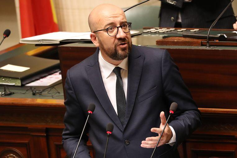 Premier Charles Michel (MR) brengt zijn state of the union in het parlement.  Beeld BELGA