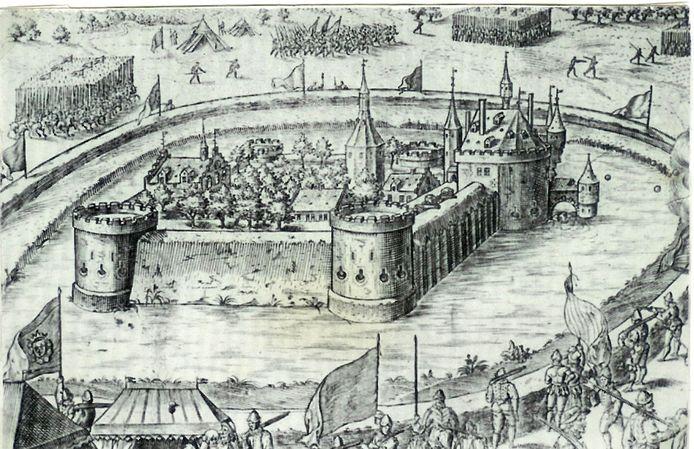 Het kasteel van Wouw werd in 1583 belegerd. De gracht werd in 1621 gedempt. Bron:  West-Brabants Archief.