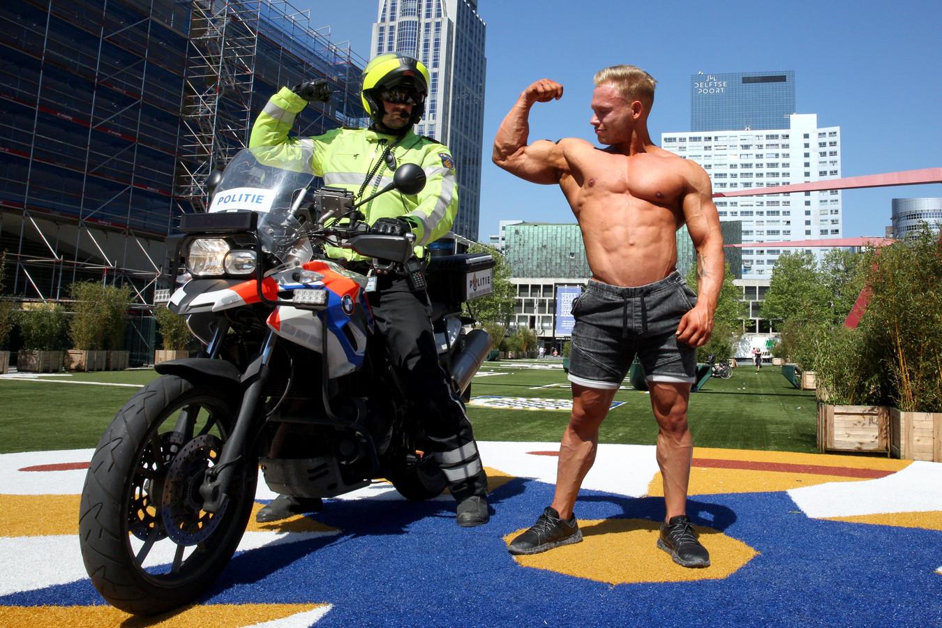 Volgens Salm wilde de agent hem arresteren omdat zijn  'guns te groot zijn'. ,,Dat is bodybuildingslang voor 'te dikke armspieren'.''
