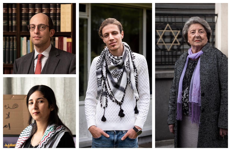 Belgische Israëli's en Palestijnen aan het woord. Beeld DM