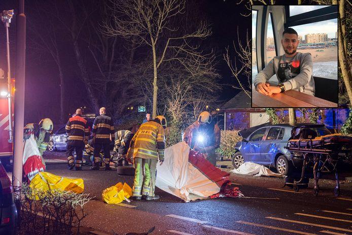 De ravage was groot na het ongeluk op de Utrechtsestraatweg in Nieuwegein. Inzet: Slachtoffer Ilias Azarkan