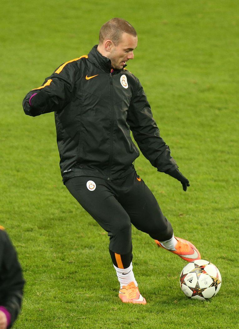 Wesley Sneijder is de sterspeler van Galatasaray. Beeld belga
