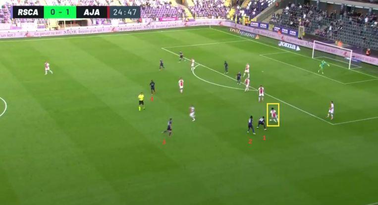 'Kudus being Kudus': zijn mooiste actie tegen Anderlecht was ook meteen de risicovolste. Beeld Screenshot stream RSC Anderlecht