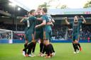 Feest bij Ajax na een doelpunt.