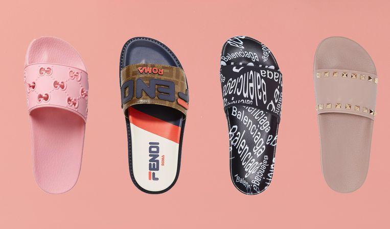 Badslippers van Gucci, Fendi, Balenciaga en Valentino.