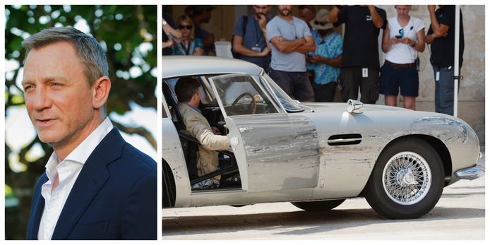 De Aston Martin zag er na de opnames behoorlijk gehavend uit