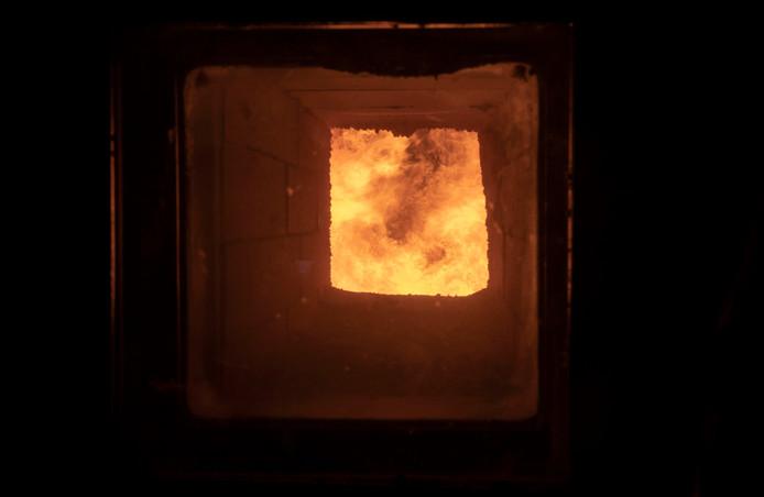 De oven van de bio-energie centrale aan de Geerweg in Ede.