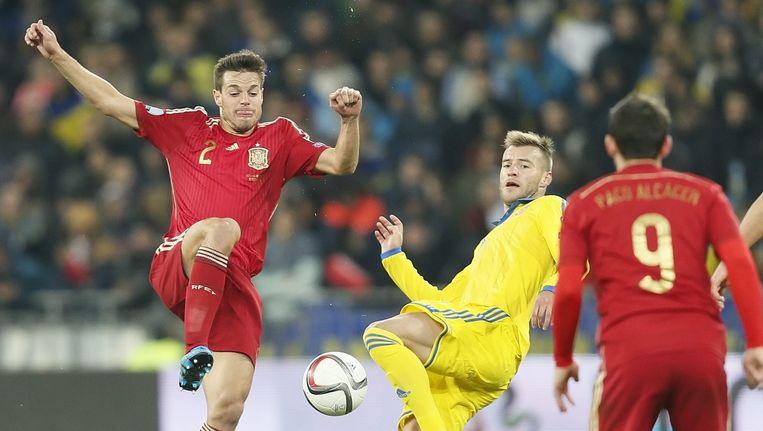 Oekraïne verloor van Spanje en gaat naar de play offs. Beeld epa