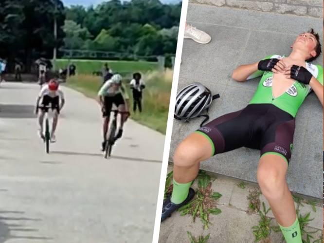 Opvallende beelden uit Frankrijk: kleinzoon van Eddy Planckaert, maar pas aan het koersen, sprint overtuigend naar eerste zege