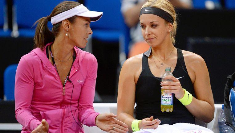 Martina Hingis en Sabine Lisicki (rechts). Beeld epa
