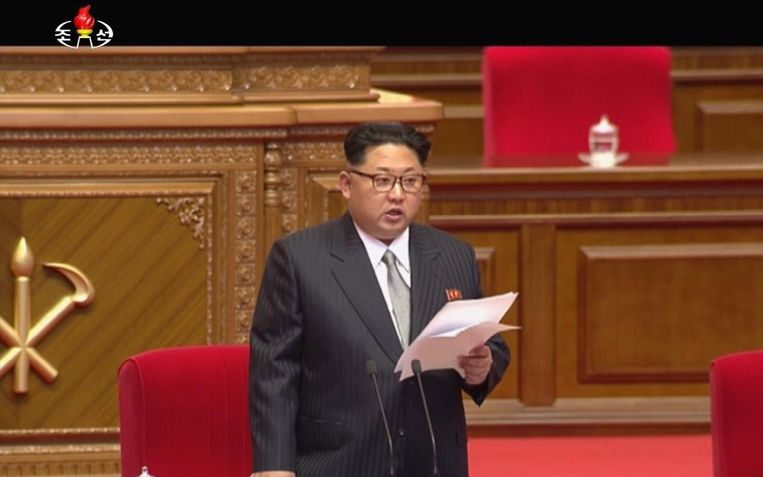 Kim Jong-un tijdens zijn toespraak. Beeld ap